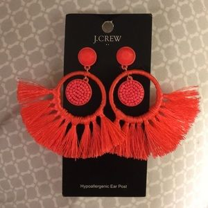 J Crew coral tassel ear rings